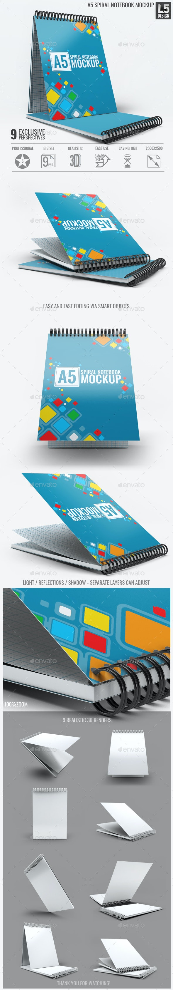 A5 Spiral Notebook Mock-Up - Miscellaneous Print
