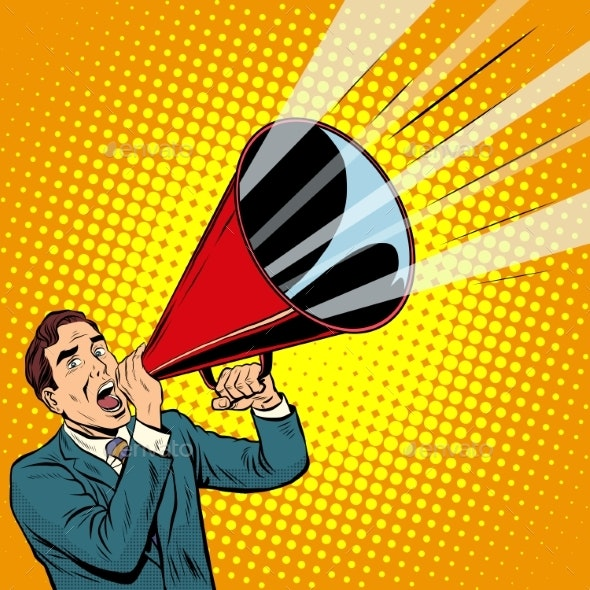 Businessman Agitator with a Megaphone Pipe - Concepts Business