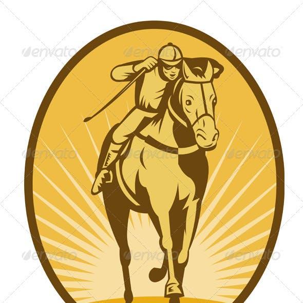 Jockey And Horse Racing Retro Style