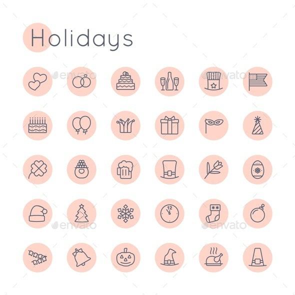 Vector Round Holidays Icons - Seasonal Icons