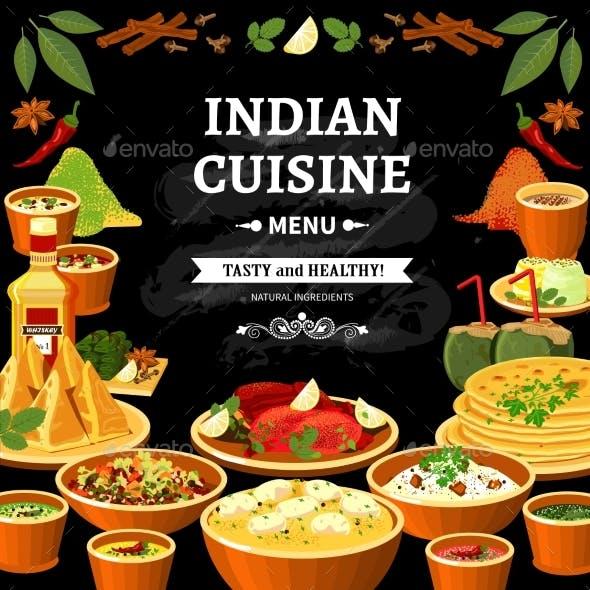 Indian Cuisine Menu Black Board Poster