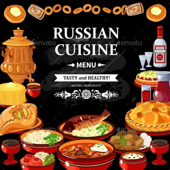 Russian Cuisine Menu Black Board Poster  - Conceptual Vectors