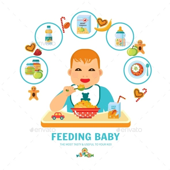 Feeding Baby Pictorial Guide Flat Poster  - Food Objects