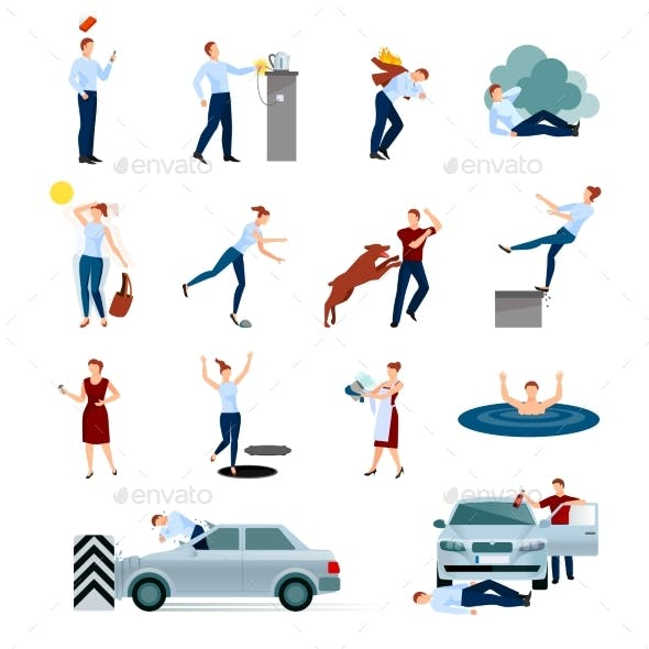 Accidents Injuries Dangers Decorative Icons Set