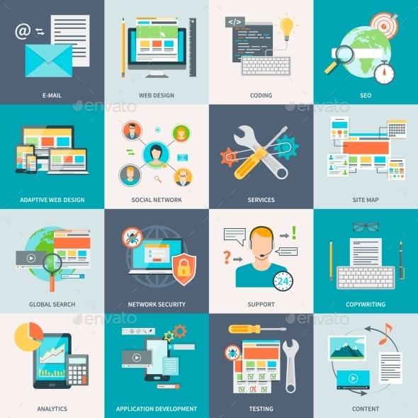 Website Development Concept Icons - Decorative Vectors