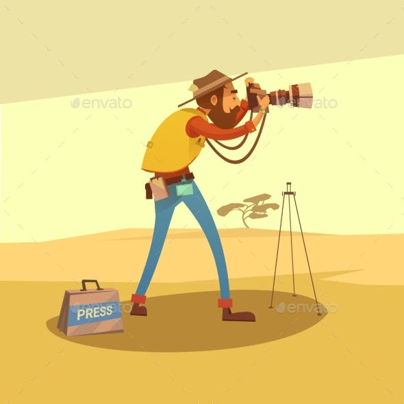 Journalist Cartoon Illustration