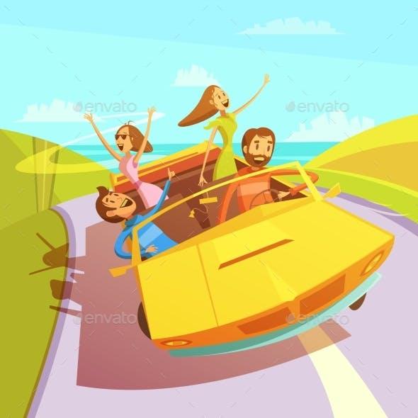 Traveling Friends Illustration