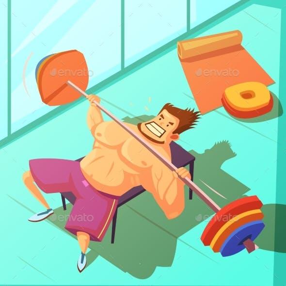Weightlifting Cartoon Illustration