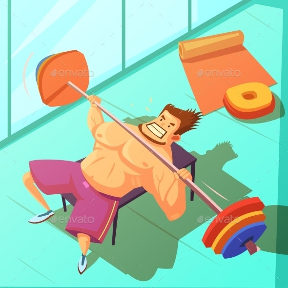 Weightlifting Cartoon Illustration  - Sports/Activity Conceptual