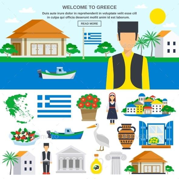 Flat Icons Set Of Greece
