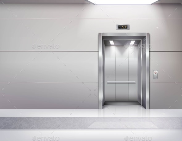 Realistic Empty Elevator Hall Interior - Buildings Objects