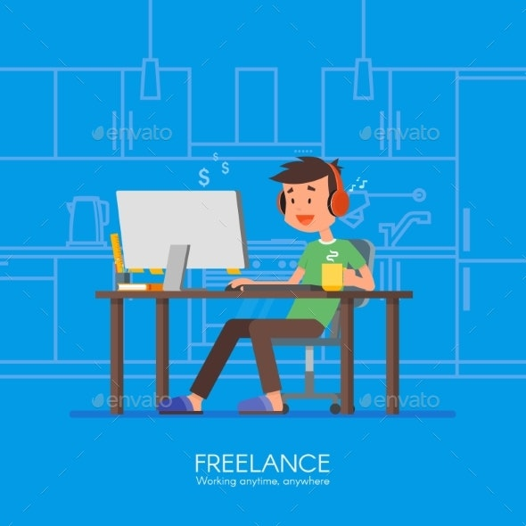 Male Freelancer Working Remotely From His Room - People Characters