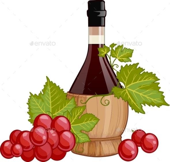 Red Wine In Italian Fiasco Bottle  - Food Objects
