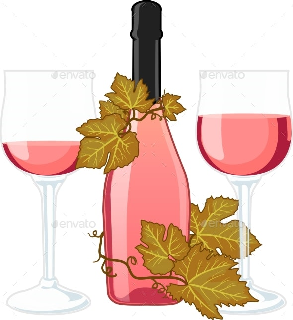 Rose Wine Bottle With Two Filled Glasses - Food Objects