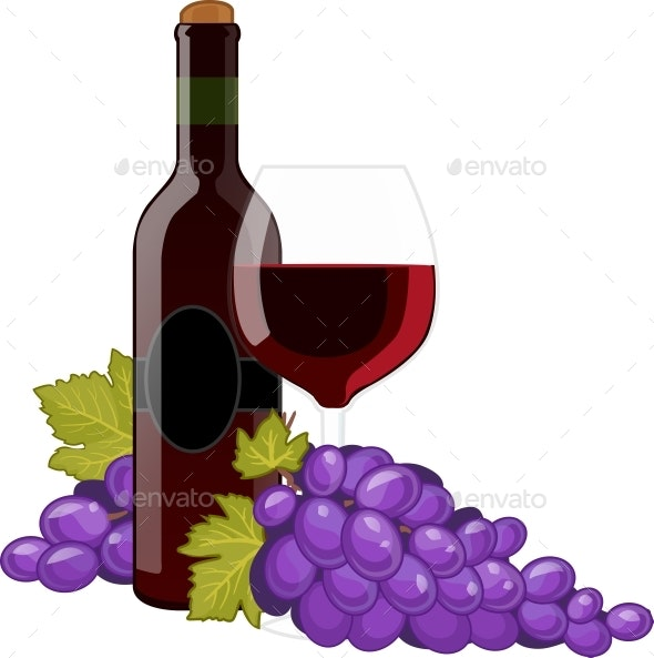 Red Wine Bottle And Wineglass - Food Objects