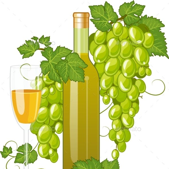 White Wine Bottle And Wineglass