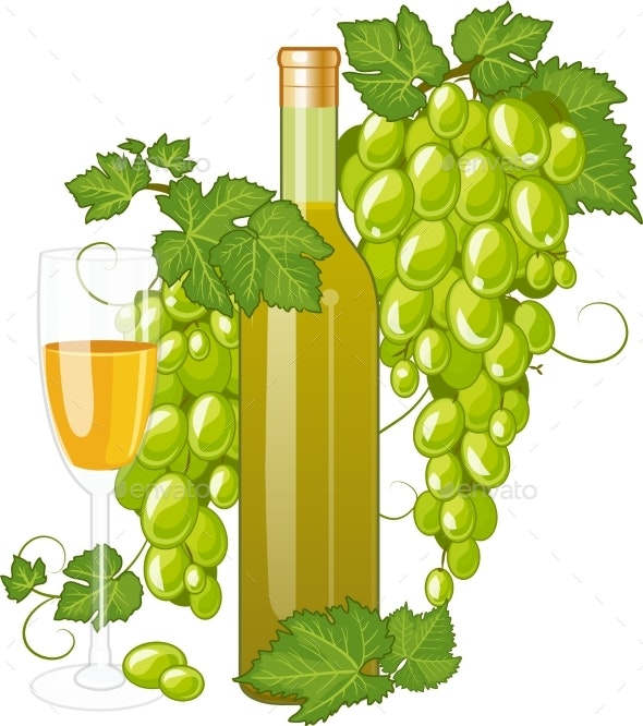 White Wine Bottle And Wineglass - Food Objects