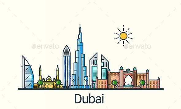 Line Flat Dubai Banner - Buildings Objects