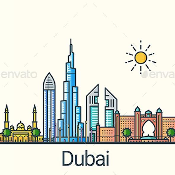 Line Flat Dubai Banner