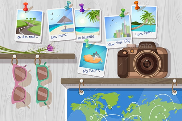 Travel Objects on Wooden Wall - Travel Conceptual