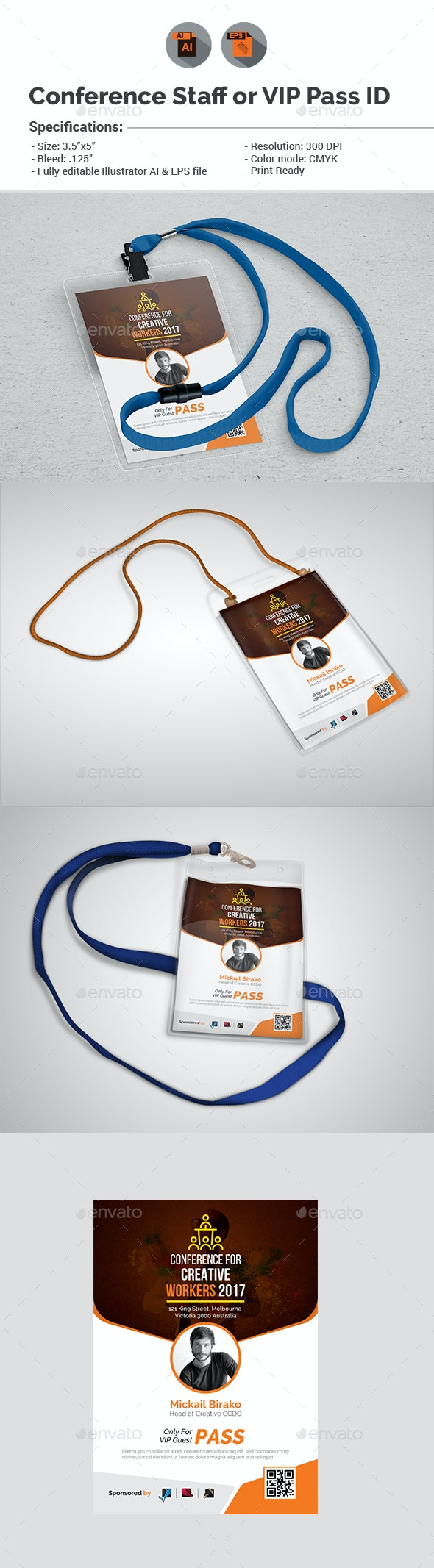Conference/Event Staff or VIP Pass ID Template - Events Flyers