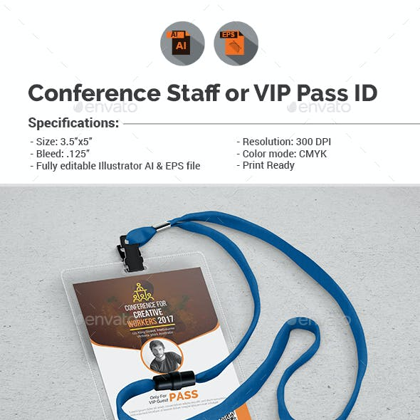 Conference/Event Staff or VIP Pass ID Template