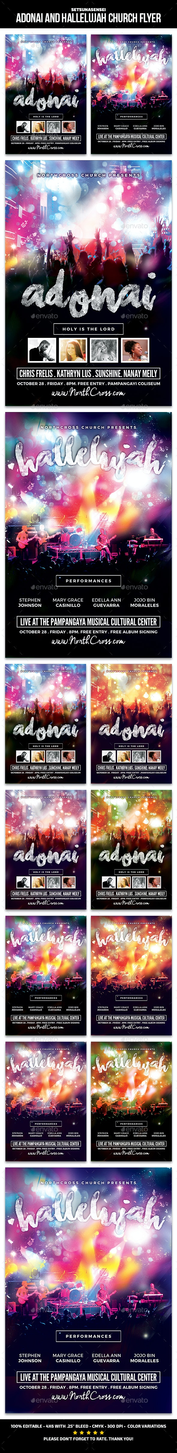 Adonai and Hallelujah Church Flyer - Church Flyers