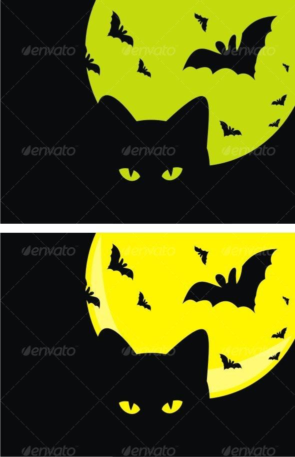 Kat, Bats and Moon. Halloween, - Halloween Seasons/Holidays