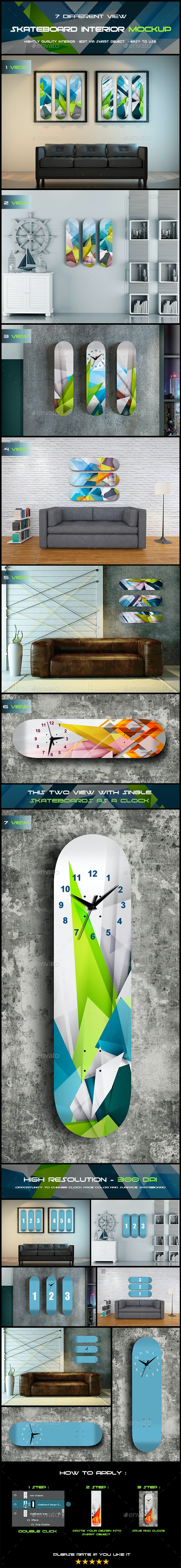 Skateboard Interior - Product Mock-Ups Graphics