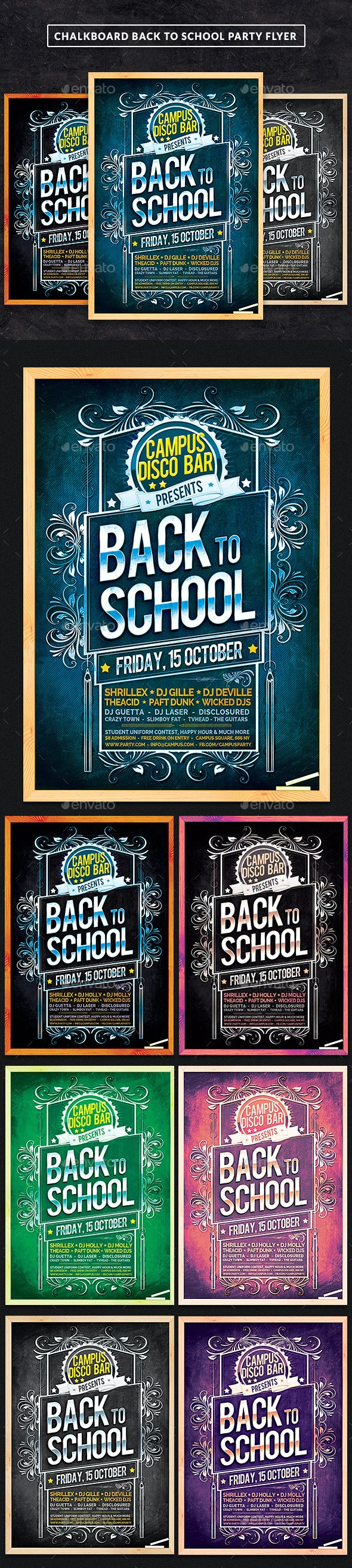 Chalkboard Back To School Party Flyer - Clubs & Parties Events