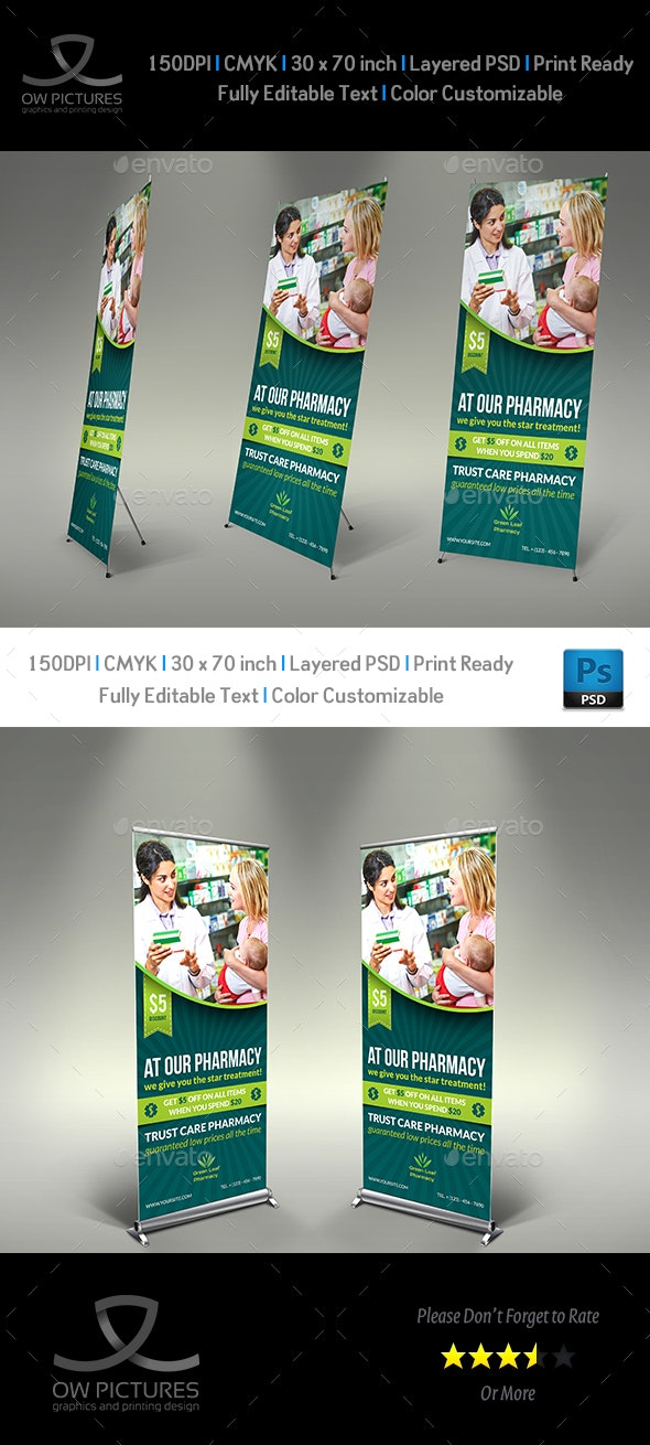 Pharmacy Signage Roll Up Banner Template - Signage Print Templates