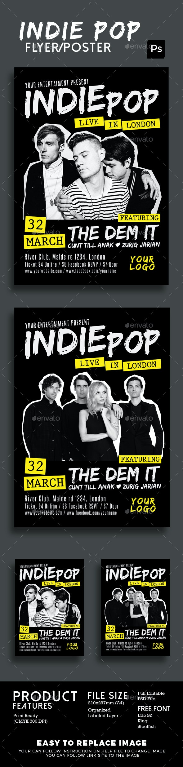 Indie Pop Flyer Poster - Events Flyers