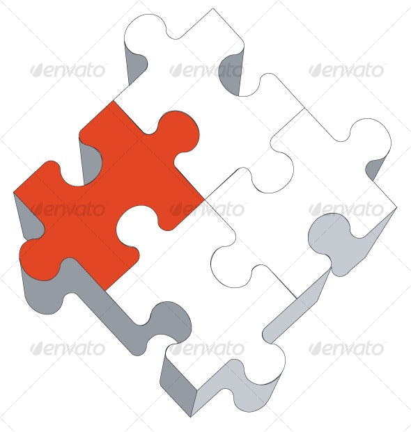 3d puzzle in color 03 - Decorative Vectors