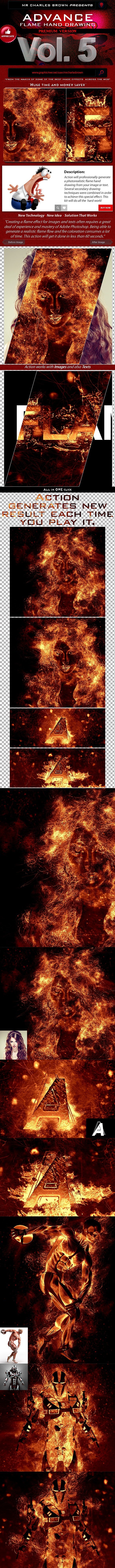 Advance Flame Hand Drawing v5 - Photo Effects Actions