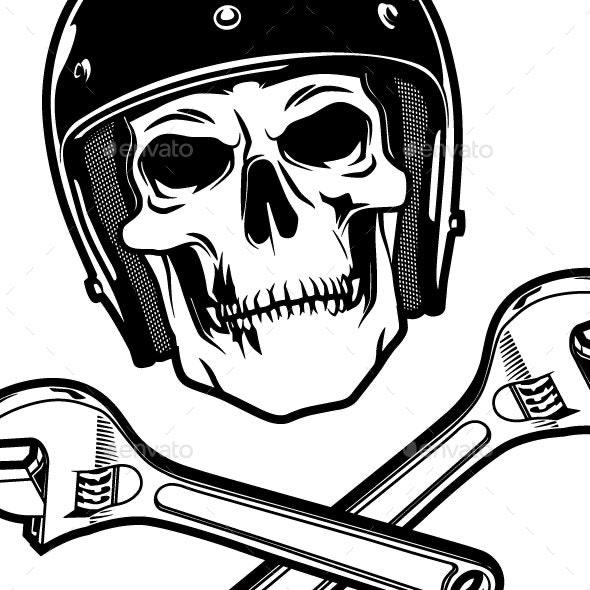 Skull and Wrenches - Decorative Symbols Decorative
