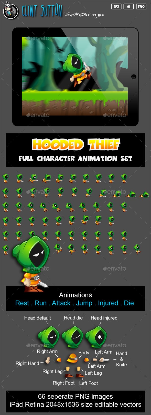 Hooded Thief Character Set - Sprites Game Assets