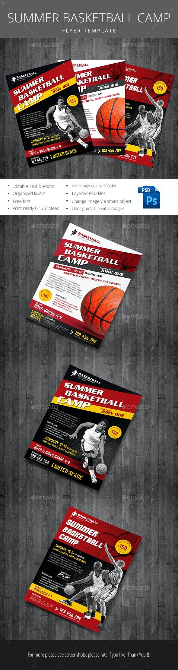 Summer Basketball Camp - Flyers Print Templates