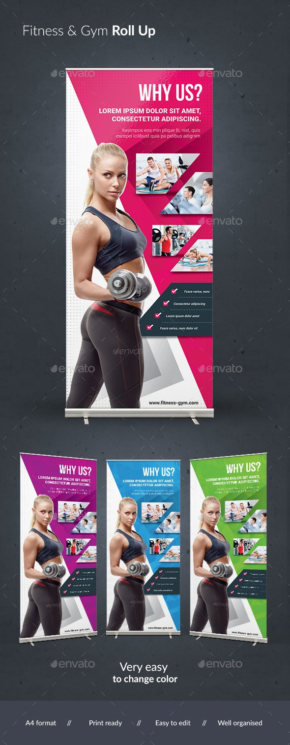 Fitnes & Gym Roll Up - Signage Print Templates