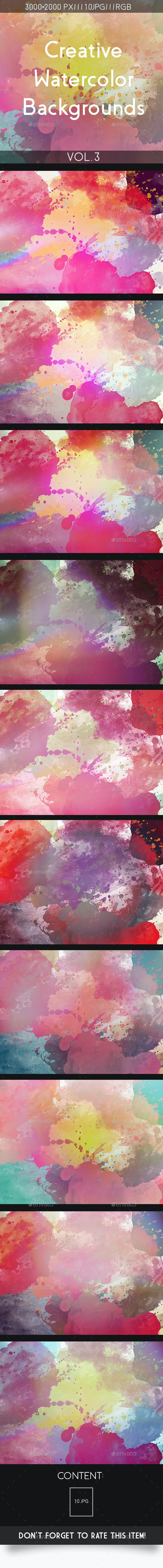 Creative Watercolor Backgrounds Vol.3 - Abstract Backgrounds