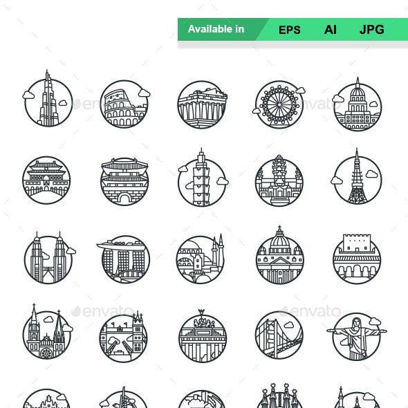 Landmarks II outlines vector icons