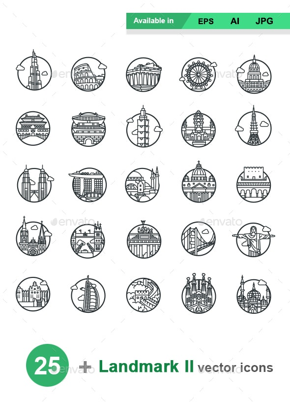 Landmarks II outlines vector icons - Buildings Objects