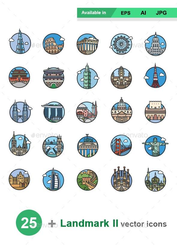 Landmarks II color vector icons