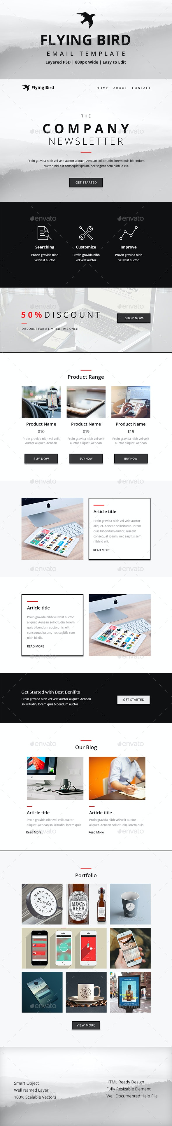 Flying Bird Email Template - E-newsletters Web Elements