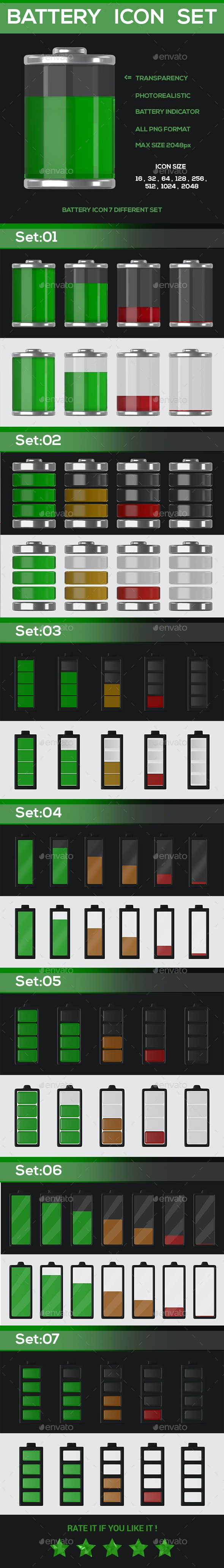 Battery icon set - Technology Icons