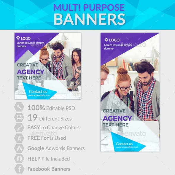 Multi Purpose Banners + 2 Facebook Banners