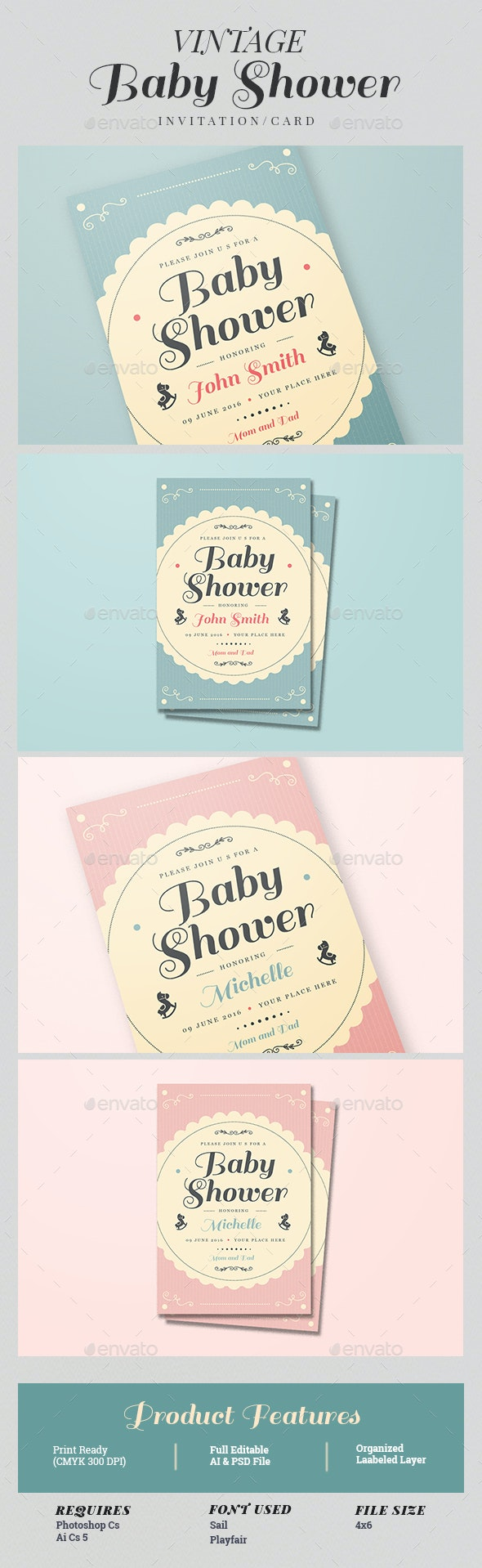 Vintage Baby Shower Invitation/Card - Cards & Invites Print Templates