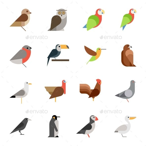 Flat Design Vector Birds Icon Set