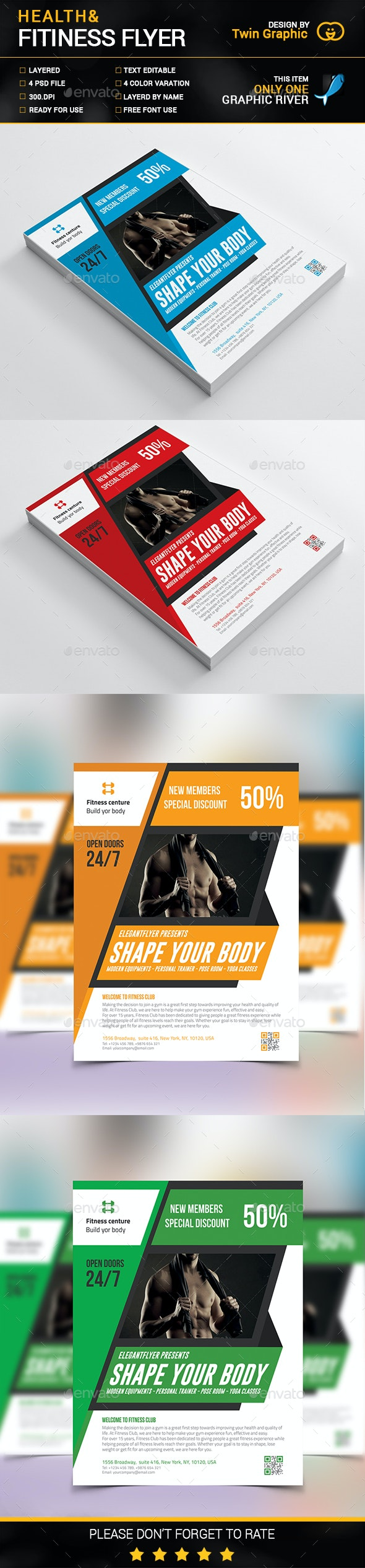 Health & Fitness fitness flyer design. - Flyers Print Templates