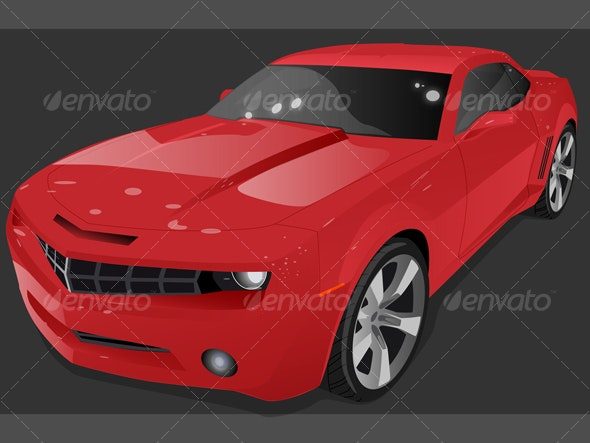 Red Muscle Car - Man-made Objects Objects