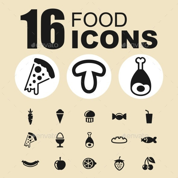 Food vector icons - Food Objects